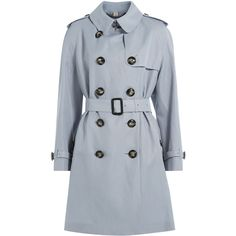 Burberry London Terrington Trench Coat ($2,110) ❤ liked on Polyvore featuring outerwear, coats, coats & jackets, blue, double-breasted trench coat, burberry coat, slim trench coat, burberry and double breasted coat