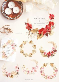 New autumn collection of watercolor illustrations that consist of many floral elements. Bright red orchid, blush roses, pampas and dried palm as well as other dried plants will add autumn mood to your design.#invitations #elegantwedding #modernwedding #beachwedding #bohowedding #floralwedding #vintagewedding #fallflowers #fallwedding Graphic Design Templates, Graphic Design Trends, Graphic Design Layouts, Graphic Design Projects, Blog Design, Graphic Design Inspiration, Watercolor Illustration, Watercolor Flowers, Red Orchids