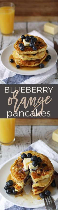 Blueberry orange pancakes - loaded with fruit and flavor! Breakfast will never be the same. | honeyandbirch.com | ideas | easy | perfect | favorite