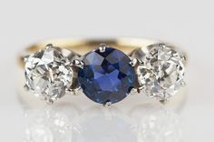 Outstanding GIA 2 Old European Cut Diamond and Sapphire 14k /Plat. ring.