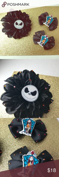 Disney nightmare before Christmas hair bows A set of 3 nightmare before Christmas hair bows  1 large black flower hair clip with jack Skellington❤️ 2 medium size sally hair bows  With Swarovski crystal elements. Disney Accessories Hair Accessories