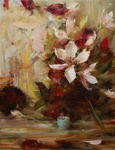 Tulip Magnolias by Laura Robb Oil ~ 18 x 14