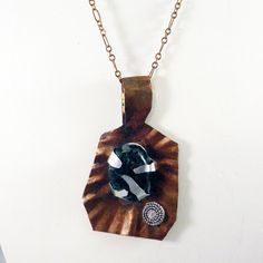 BoHo Copper Pendant Necklace Textured Prong Set Black Stone by clairecreations on Etsy