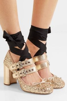 Heel measures approximately 85mm/ 3.5 inches Gold glittered leather Buckle-fastening straps Made in Italy