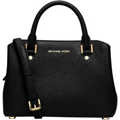MICHAEL Michael Kors Savannah Small Leather Satchel , Black ($370) ❤ liked on Polyvore featuring bags, handbags, black, leather handbags, man bag, leather satchel, leather satchel handbags and hand bags