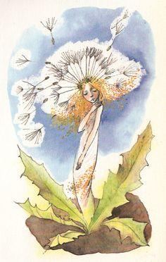 by Zdenka Krejčová. or Jilly coppercorn Dandelion Clock, Dandelion Wish, Thread Painting, All Nature, Love Symbols, Art Journal Inspiration, Whimsical Art, Flower Art, Art Flowers