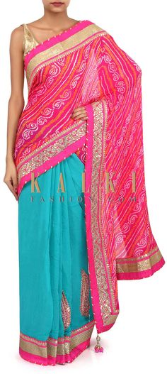 Buy Online from the link below. We ship worldwide (Free Shipping over US$100). Product SKU - 275608. Product Link - http://www.kalkifashion.com/pink-and-teal-half-and-half-bandhani-saree-with-embroidered-border-only-on-kalki.html