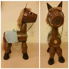 Clay pot horse made with terracotta pots, drape tassels, black foam, multicolored cord, cloth napkin, acrylic paint and exopy. Image only.