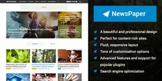 MyThemeShop NewsPaper is a beautiful and elegant WordPress theme built for content-rich sites. With trending and latest sort features, media rich features, and Tema Wordpress, Top Wordpress Themes, Wordpress Theme Design, Wordpress Template, Wordpress Plugins, Content Media, Responsive Layout, All Themes, Magazine Template