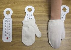 Are mittens warm?  Mittens alone are not warm!  But if you put them on, they trap your body heat!  Neat science experiment that makes kids think.
