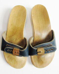 Vintage 1970's Navy Wooden Dr. Scholl's Slides by FreshtoDeathVintage, $26.00