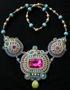 Pink, Turquoise and Green Soutache beaded necklace by CieloDesign on Etsy
