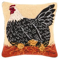 Hand-hooked wool pillow with a hen motif.   Product: PillowConstruction Material: 100% Wool cover and polyester fill Rug Hooking Designs, Rug Hooking Patterns, Chicken Crafts, Chicken Art, Chicken Chick, Wool Pillows, Decorative Throw Pillows, Wool Rugs, Wool Fabric