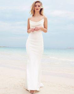 7956b8e832b62 lipsy bridal cowl neck satin maxi dress wedding dresses under  #WeddingDresses #SilkCowlNeck Shift Wedding