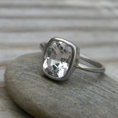White Topaz Ring In Recycled 14k Palladium White Gold, Cushion Solitaire