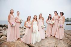 Bridesmaids dresses. All the same color but each a slightly different design.