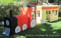 kidlist cardboard train- would be perfect for our polar express party Thomas The Train Birthday Party, Trains Birthday Party, 3rd Birthday Parties, 4th Birthday, Birthday Ideas, Thomas The Train Games, Train Games For Kids, Chuggington Birthday, Polar Express Party