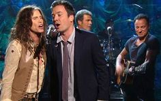 Steven Tyler, Jimmy Fallon and Bruce Springsteen perform at a Hurricane Sandy benefit concert Friday night in New York. (NBC photo)