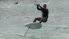 amazing maneuvers on a hydrofoil kiteboard...he can point so high, hard to tell which direction the wind is coming from