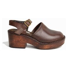 Vintage 90s Steve Madden Mary Jane Clogs in Brown Leather Chunky... ($22
