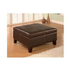 Storage Ottoman Home Living Leather Vinyl Wood Legs Seat Foot Rest Bedroom Room #StorageOttoman