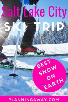 """Are you planning a Salt Lake City skiing trip? Awesome! Let's plan your perfect Salt Lake City, Utah skiing trip! There is a lot to be excited about. For one, Utah has the """"Greatest Snow on Earth."""" (Believe it or not, the University of Utah did a study on this. And of course, just ask locals, who are not biased whatsoever . . . .) In this post we will explore the different transportation, ski resorts, ski rental equipment, and lodging."""