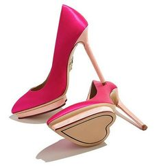 Charlotte Olympia stilettos with a heart shaped sole Dream Shoes, Crazy Shoes, Me Too Shoes, Pretty Shoes, Beautiful Shoes, Stilettos, Shoe Boots, Shoes Heels, Pink Shoes