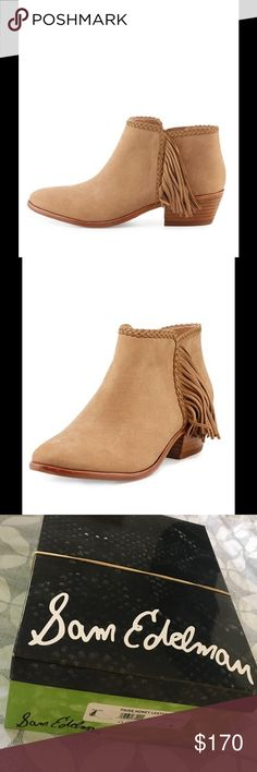 """NWT-Sam Edelman Paige, Honey Leather Fringe Bootie NWT- Sam Edelman- Paige Leather Fringe Bootie, Honey. With just the right amount of fringe to make a sophisticated statement, this soft suede bootie features braided detailing along the topline, an almond toe and a stacked heel. Side zip eases dress. Padded footbed. Smooth outsole. """"Paige"""" is imported. Smoke-free and Pet-free home. Never worn. No flaws. Would make the perfect gift even for yourself  These booties are sold out. Price is firm…"""