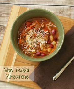 Slow Cooker Minestrone #Recipe #CansGetYouCooking# slow cooker healthy recipes