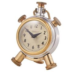 Inspired by the animated alarm clocks of cartoons, the Sprout Table Clock resembles a classic timepiece with a twist. Clock For Kids, Ipad Holder, Vintage Office, Polished Brass, Home Art, Sprouts, Design Elements, Bracelet Watch, Room Decor
