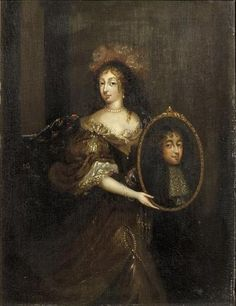 Henriette of England holding a portrait of her husband, Philippe de France, Monsieur, duc d'Orleans (1640-1701) - Théodore Netscher (Musee Conde, Chantilly)