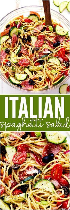 Italian Spaghetti Salad is made with spaghetti, fresh summer veggies, salami and tossed in a homemade zesty italian dressing. This is a summer potluck must!