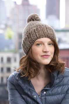 Lorimer St. Beanie in Lion Brand Wool-Ease Thick & Quick - L20632