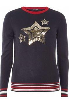 Pull marine à motif étoile en paillettes