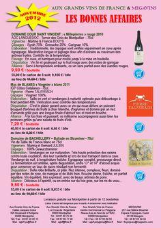 Les Bonnes Affaires Aux Grands Vins de France. A partir de 7.20€ - From $9.20