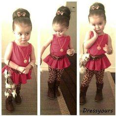 Baby peplum top and cheetah pants. Adorable.