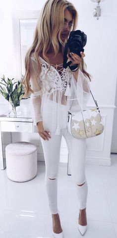 all white everything #cluboutfits