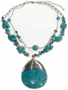 15DOLLARSTORE.COM - WINNITY Genuine Turquoise Beaded Pendant Necklace