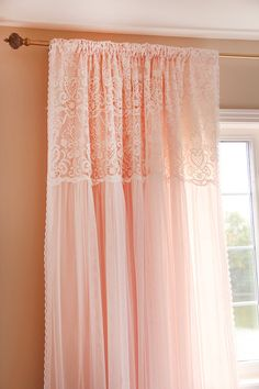 Items similar to Peach Apricot Pink White Ruffle Embroidery Lace Overlay Ruching Luxury Tulle Sheer Shabby Cottage French Paris Double Layer Curtain on Etsy Peach Curtains, Ruffle Curtains, Layered Curtains, Shabby Chic Curtains, Shabby Chic Bedrooms, Shabby Chic Homes, Valance Curtains, Tulle Canopy, Cottage Curtains