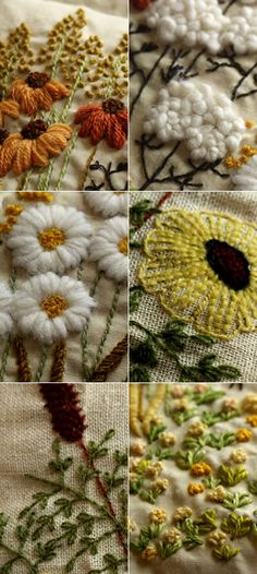 Crewel embroidered pillows from the 11-19-2009 blogpost of Mellow Stuff of Tokyo Japan.     - 秋・冬用のお花のクッション - 【 crewel embroidery pillow 】 : + mellow-stuff +