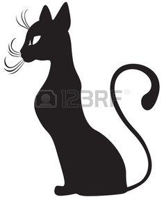 Die Silhouette des schwarzen Katzen anmutig im Profil Illustration
