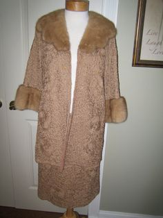 1950s lovely two piece suit ing extremely detailed tan silk ribbon and mink