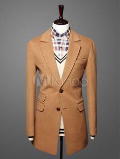 Modern Men's Long Pea Coat With Notch Collar - Milanoo.com