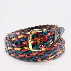 Vintage braided leather rainbow colored belt | Etsy
