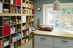 Cube shelves seem perfect for craft rooms.