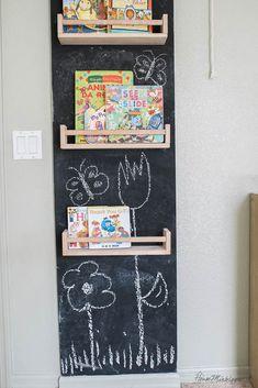 Chalkboard wall in playroom with $5 Ikea spice racks as bookshelves