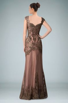 Bewitching V-neckline Capped Sleeves A-line Evening Dress in Beaded Applique and V-back Details