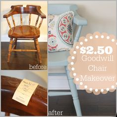 great wooden chair makeover with just chalk paint and cute pillow I was just at goodwill and saw a chair exactly like that! Wooden Chair Makeover, Lamp Makeover, Furniture Makeover, Makeover Tips, Furniture Projects, Diy Furniture, Diy Projects, Furniture Refinishing, Goodwill Furniture