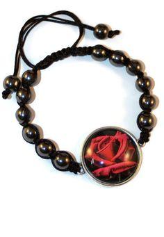 Hematite Floral Boho Bracelet Bracelet by MaKatarinaCorner   #bohobracelet , #bohojewelry , #shamballabracelet, #redrosebracelet , #floralbracelet , #hematitebracelet , #macramebracelet, #wrapbracelet, #redrose