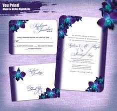 Blue Purple Orchid Wedding Invitations Digital By Studio1013